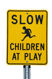Slow Children at Play Sign. Slow Children at Play street sign with white background stock image