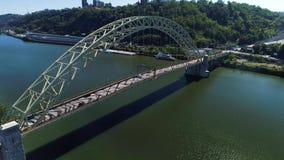 Slow Rising Aerial Establishing Shot of West End Bridge Over Ohio River. 9321 A slow, cinematic rising up dolly establishing shot of Pittsburgh's West End Bridge stock video