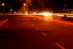 Slow lights city cars Royalty Free Stock Images