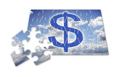 The slow construction of wealth - concept image in puzzle shape.  Stock Photography