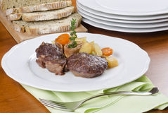 Slow Cooked Beef Shank Served with Vegetables Royalty Free Stock Image