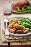 Slow Cooked Pork with Apple Sauce and Green Beans. Square royalty free stock photos