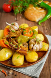 Slow-cooked stew with tender lamb meat, potatoes and vegetables Stock Photo