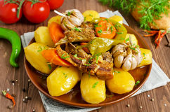 Slow-cooked stew with tender lamb meat, potatoes and vegetables Stock Photos