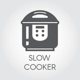 Slow cooker black flat icon. Pictogram of electrical household appliances for cooking. Graphic label Royalty Free Stock Photos