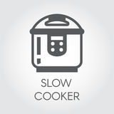Slow cooker flat icon. Electronic crock pot or steamer pictograph. Household appliance label. Vector Royalty Free Stock Photo
