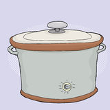 Slow Cooker with Lid. Cartoon electric slow cooker with closed lid Stock Images