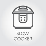 Slow cooker mono stroke line icon. Electronic crock pot or steamer outline pictograph. Kitchen equipment label Stock Photo