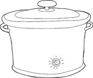 Slow Cooker Outline. Outline cartoon of closed electric slow cooker Stock Photography