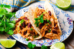 Slow Cooker Shredded Chicken Tex-Mex. Selective focus stock photography