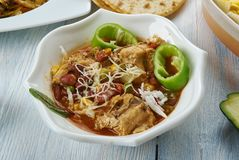 Tex-Mex Chicken Stew. Slow Cooker Tex-Mex Chicken Stew, Tex-Mex cuisine, Traditional assorted dishes, Top view royalty free stock photo