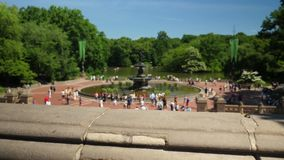Slow Dolly Up Reveal Establishing Shot of Bethesda Fountain in Central Park. A slow dolly up reveal establishing shot of Bethesda Fountain in Central Park on a stock video footage