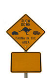 Slow down fauna sign isolated on white. A fauna crossing sign isolated on white royalty free stock photo