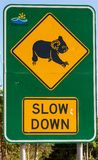 Slow down for Koalas sign. Slow down for Koalas road sign in NSW, Australia taken on 12 October 2013 royalty free stock photography