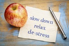 Slow down, relax and de-stress on napkin royalty free stock photos