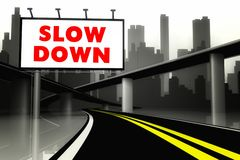 Free Slow Down Road Sign On Highway In Big City Stock Photo - 36789320