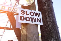 Slow down sign allet city. The image slow down sign allet city stock photography