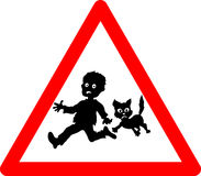 Warning kids and pets playing. Slow down sign there could be kids and pets on the road Stock Image