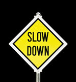 Slow Down yellow road sign isolated Stock Images