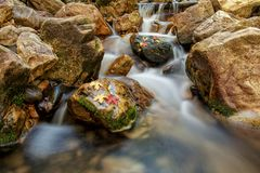 Autumn Colors on the Rocks. Slow exposure of a waterfall going through rocks and moss with autumn leafs Royalty Free Stock Photos