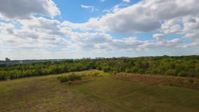 Slow flight over a green grass and trees. Aerial shot stock video footage