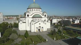 Slow flying over the biggest orthodox church in Serbia. stock footage