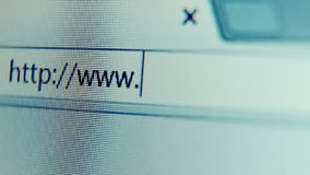 Slow focusing on blank address bar of web browser stock footage
