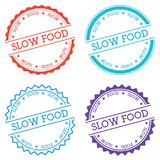 Slow food badge isolated on white background. Flat style round label with text. Circular emblem vector illustration Royalty Free Stock Photography