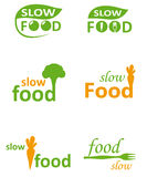 Logo for healthy food. The Opposite for the fast Food is healthy and fresh slow Food. Vector logo image. Healthy Fast Food, Veggie Restaurant, Home made Kitchen Royalty Free Stock Photos