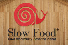 Slow Food sign at Expo 2015 in Milan, Italy Stock Photo