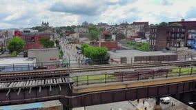 Slow Forward Aerial Push Establishing Shot of Lawrenceville Pennsylvania stock footage