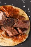 Slow grilled rib taco stock photography