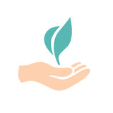 Slow Growth Icon with Hand and Plant. Growth Icon with Seedling and Caring Hand Royalty Free Stock Photo