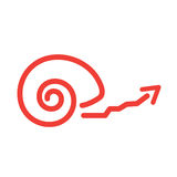 Slow Growth Icon with Snail Shell Royalty Free Stock Photography
