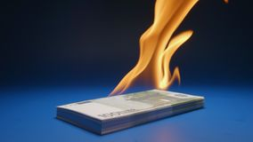 Slow motion: heap of paper money euro flaming. Slow: heap of paper money euro flaming stock video