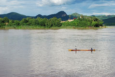 Slow life in Mekong river Stock Photo