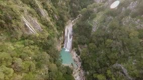 Drone footage of waterfall