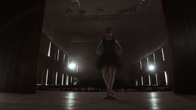 SLOW MOTION: Ballerina dancing in Pointe shoes on stage in smoke in the dark light back view. the camera moves on gimbal.  stock footage