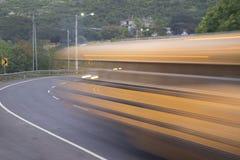 Slow motion bus at Cuesta del Plomo higgway, Managua Stock Photography