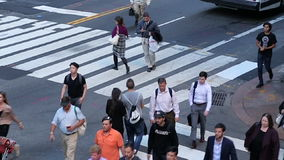 Slow motion of busy crossing, Manhattan stock footage