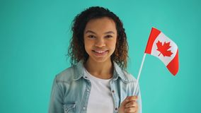 Slow motion of Canadian citizen mixed race girl holding national flag smiling. Looking at camera standing alone on blue background. Patriotism and citizenship stock video footage