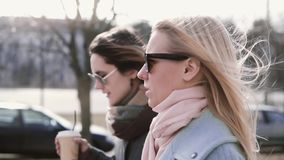 Slow motion caucasian girls walking chatting. Pretty ladies in stylish warm coats and sunglasses talk in the street. Slow motion caucasian females walking stock video footage