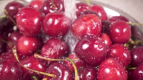 Slow motion cherry in colander under water. Slow motion beautiful sweet cherry in a metal colander in a sink under running water stock video footage