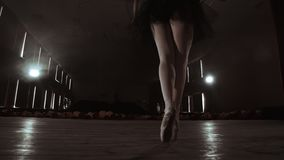 SLOW MOTION: close-up of the ballerina`s legs in the pounts and smooth movement of the camera along the vertical axis. Portrait of a ballerina stock video