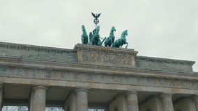 Slow Motion Close-up of horses at the Brandenburg Gate restoration. In the capital of Germany, Berlin. The concept of