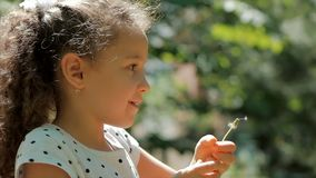 Slow Motion Close-Up Shot of Cute Little Girl Carefree Blowing a Dandelion Outdoors on a Sunset. Concept of Happy stock video footage
