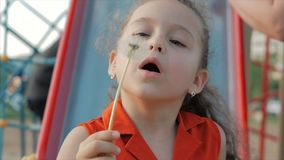 Slow Motion Close-Up Shot of Cute Little Girl Carefree Blowing a Dandelion Outdoors on a Sunset. Concept of Happy. Slow Motion Close-Up Shot of Cute Little Girl stock video