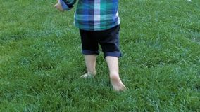 Slow motion closeup footage of adorable toddler boy feet running on fresh green grass at park. Slow motion closeup video of adorable toddler boy feet running on stock video