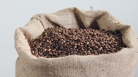 Slow motion of coffee beans falling into a burlap sack. Slow motion of coffee beans falling into a large burlap sack stock footage