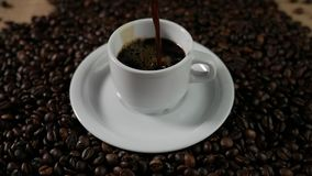 Slow Motion coffee pour. stock video